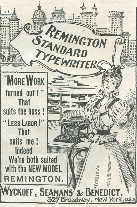 Un aviso de una máquina de escribir de la empresa Remington.