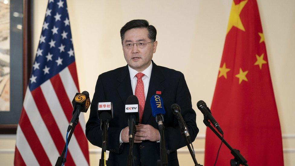 秦剛在美國華盛頓向中美媒體發表講話(新華社圖片28/7/2021)