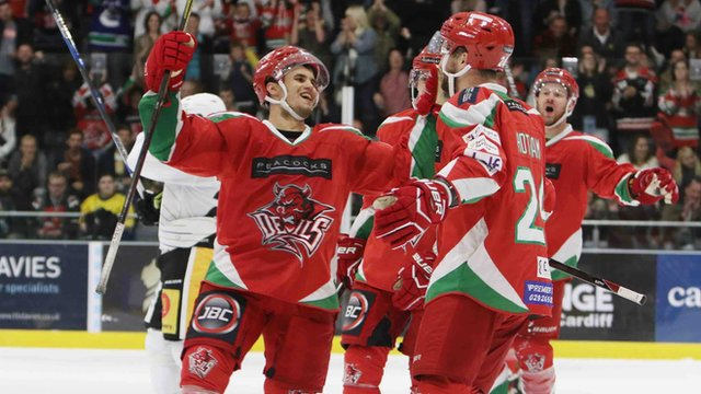 Bryce Reddick and Andrew Hotham celebrate a score during the Cardiff Devils' victory over Nottingham Panthers