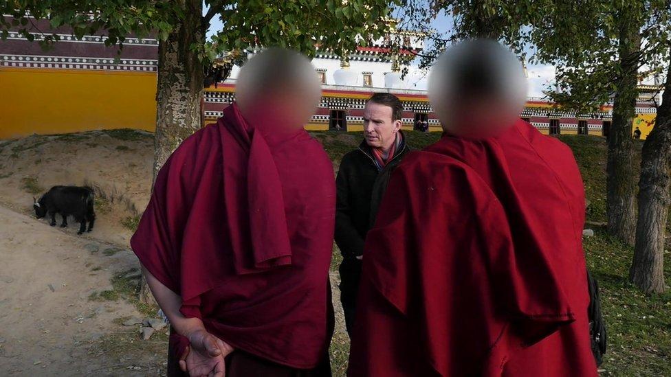 Monks at Kurti Monastery speak to the BBC's John Sudworth in October 2015