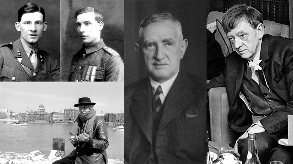 left to right clockwise: Siegfried Sassoon (Getty); Frank Richards (RWF Museum); Sir Wynn Powell Wheldon (National Portrait Gallery; David Jones; Robert Graves (PA)