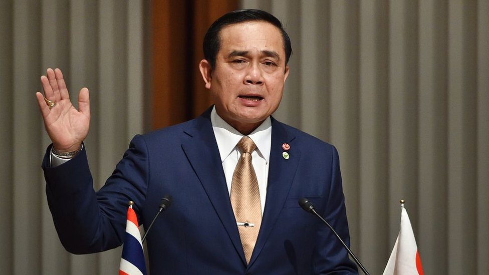 Prayuth Chan-O-Cha delivers a speech in Tokyo on February 9, 2015