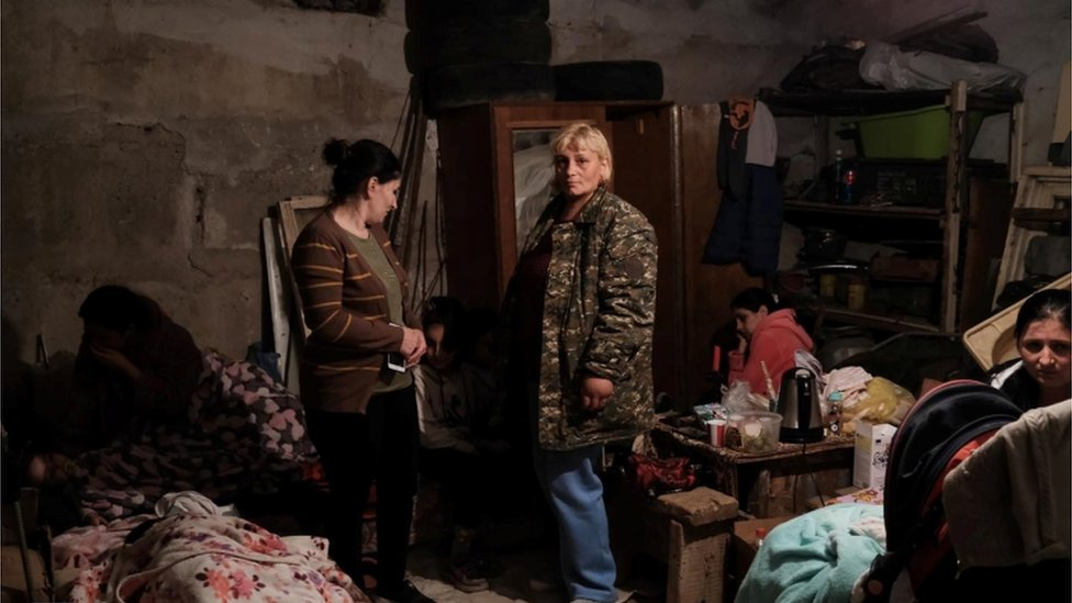 Residents including children have taken cover in bomb shelters during shelling in the capital Stepanakert