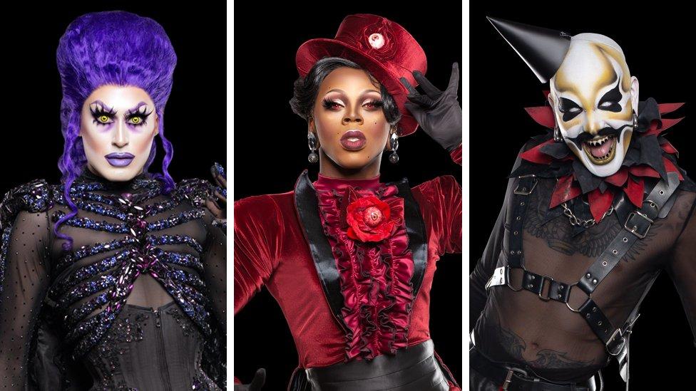 Picture of drag queen Victoria Black, Saint and Dahli