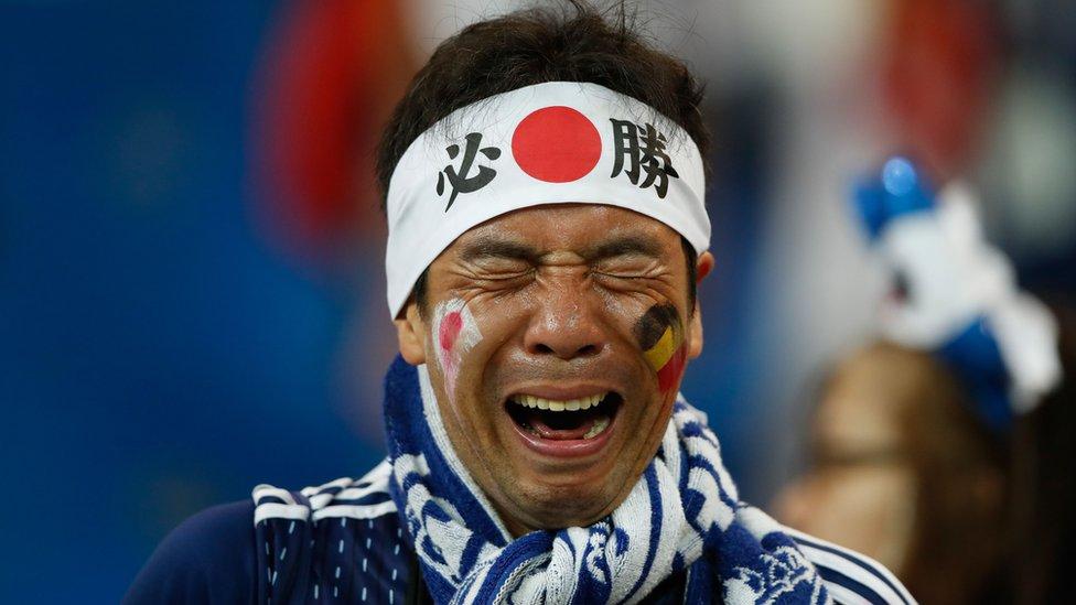 أحد مشجعي الفريق الياباني بعد نهاية المباراة
