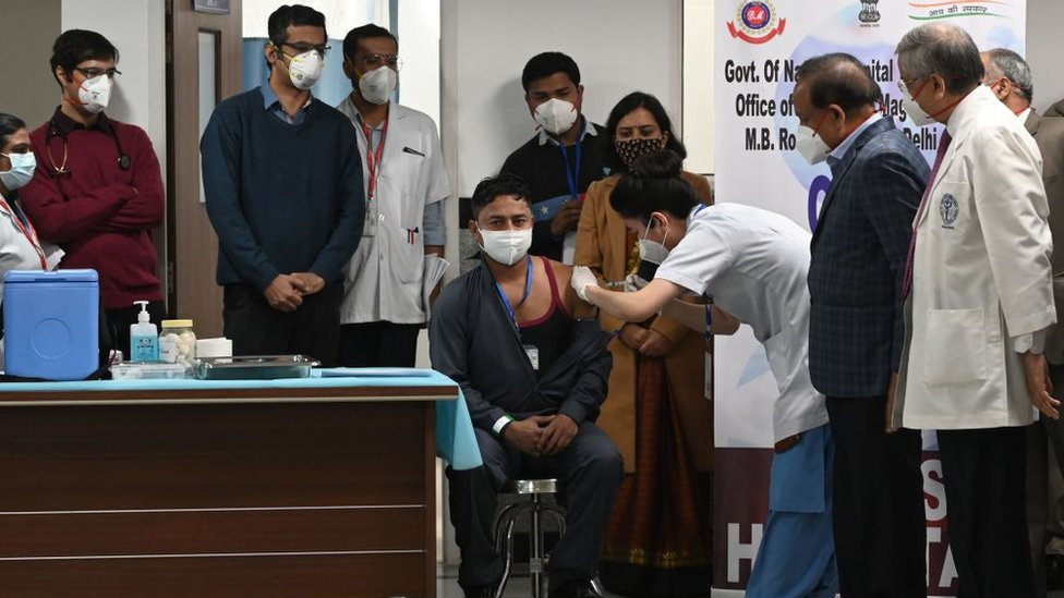 A sanitation worker became the first Indian to receive a Covid vaccine at the All India Institute of Medical Science (AIIMS) in New Delhi in January 16, 2021.