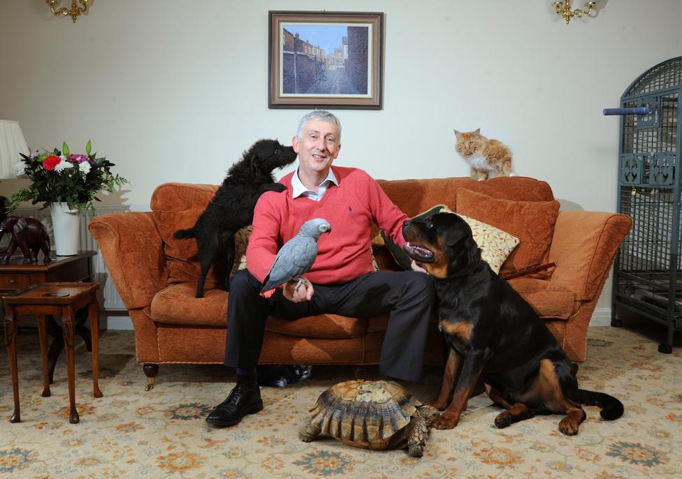 Lindsay Hoyle with animals