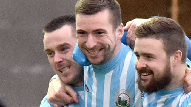 Warrenpoint players celebrate a 3-0 victory over Coleraine at Milltown