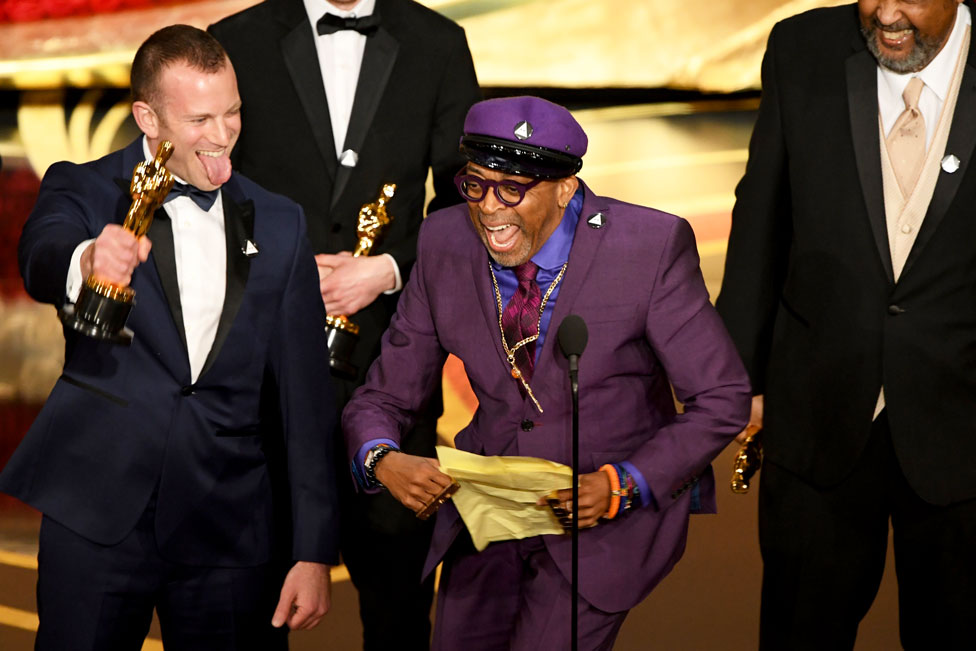 Spike Lee accepts the award for Best Original Screenplay