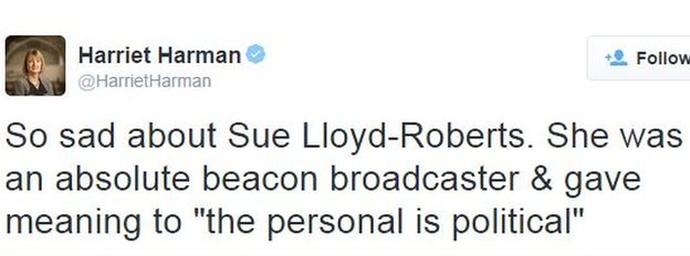 """Harriet Harman tweet: So sad about Sue Lloyd-Roberts. She was an absolute beacon broadcaster & gave meaning to """"the personal is political"""""""