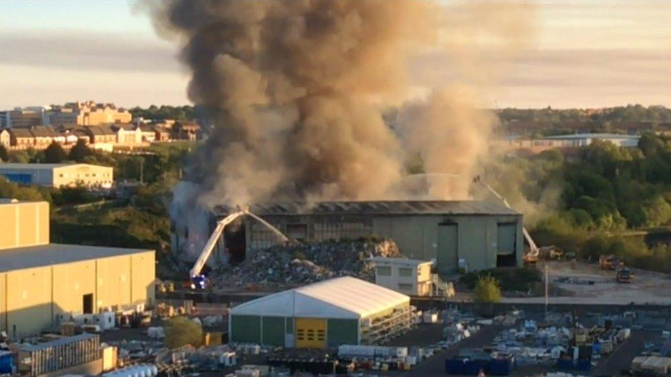 Sunderland waste plant fire 'could burn for weeks'