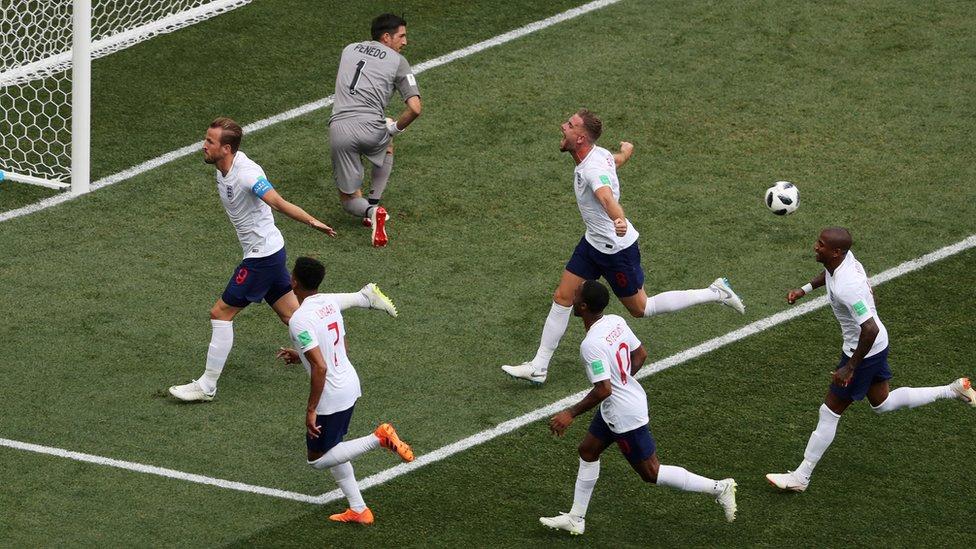 England players celebrate one of Harry Kane's goals against Panama