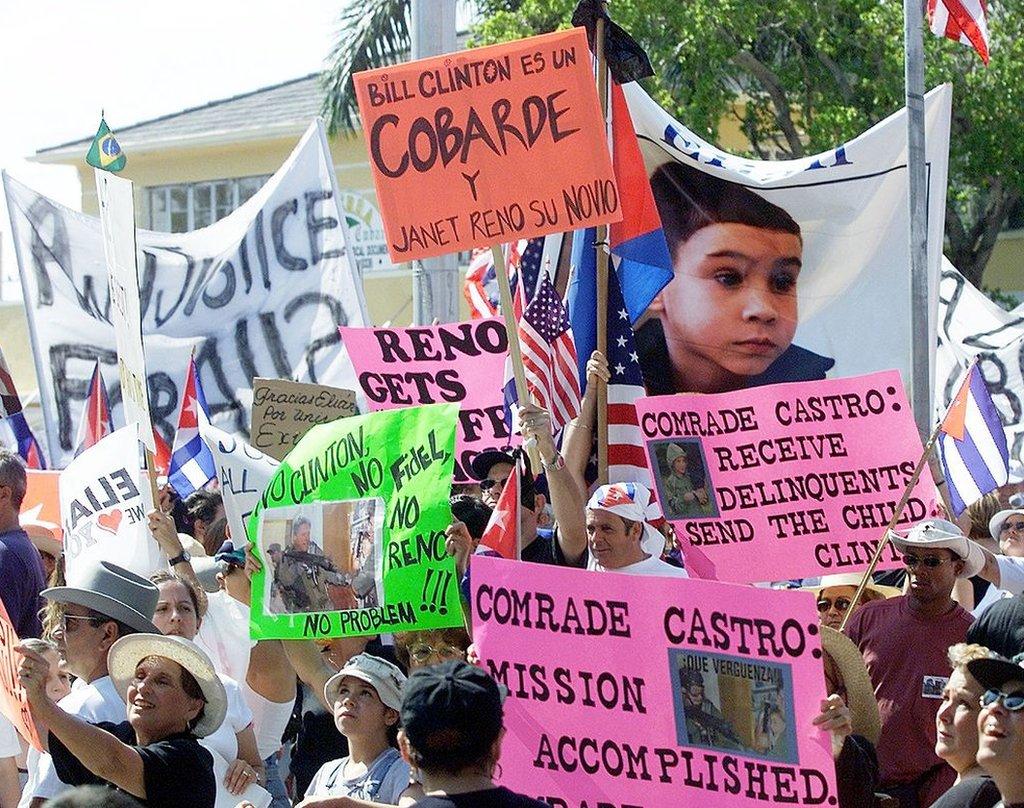 Una protesta por el caso de Elián González en Florida