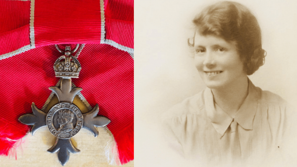 MBE medal and Betty Thornley as a young woman