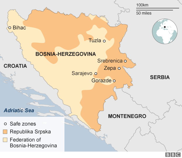 A map showing where the safe zones were in Bosnia
