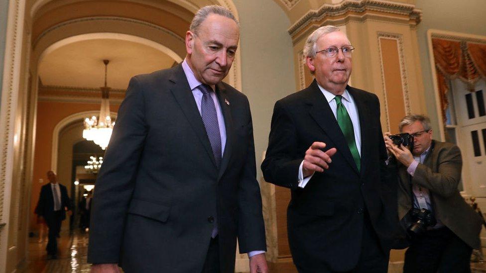 El líder de la mayoría demócrata del Senado, Chuck Schumer; y el líder de la minoría republicana, Mitch McConnell.