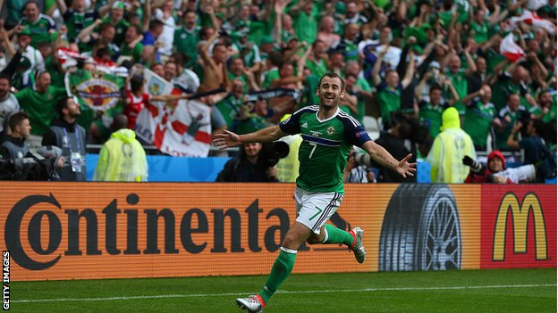 Niall McGinn celebrates scoring against Ukraine at Euro 2016