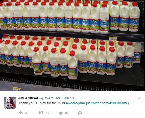 "@JayArduser tweets: ""Thank you Turkey for the milk! #weareqatar"""