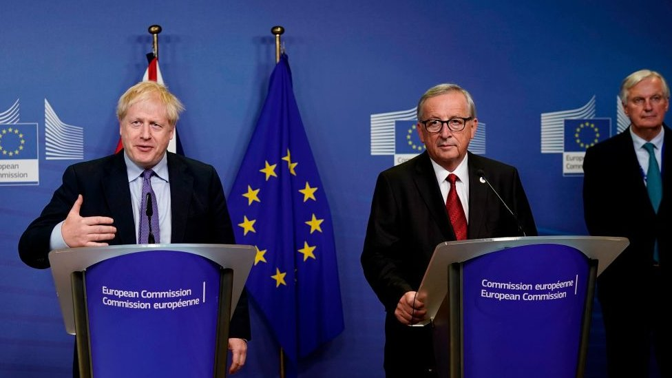 Boris Johnson with Jean-Claude Juncker and Michel Barnier
