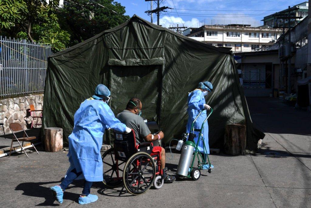 Una tienda de campaña sanitaria en Honduras