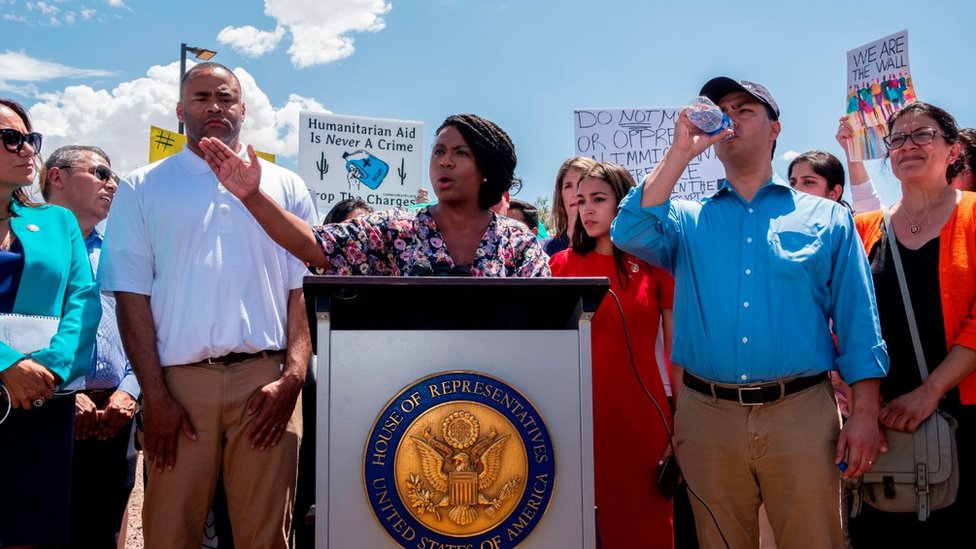 US Representative Ayanna Pressley (D-MA) speaks during a press conference following a tour in Border Patrol facilities and migrant detention centres for 15 members of the Congressional Hispanic Caucus