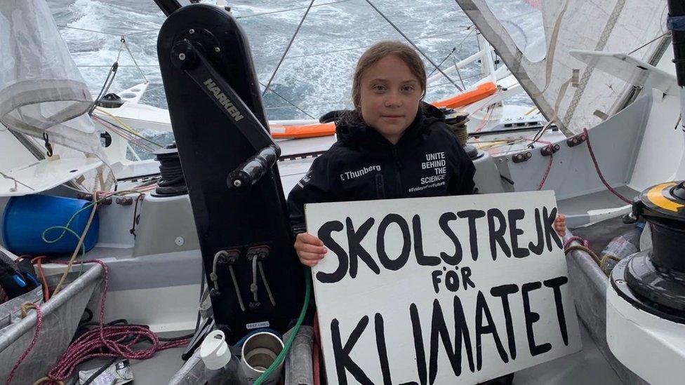 格蕾塔·桑伯格2019年8月16日,搭船而不是飛機前往美國參加聯合國氣候峰會。