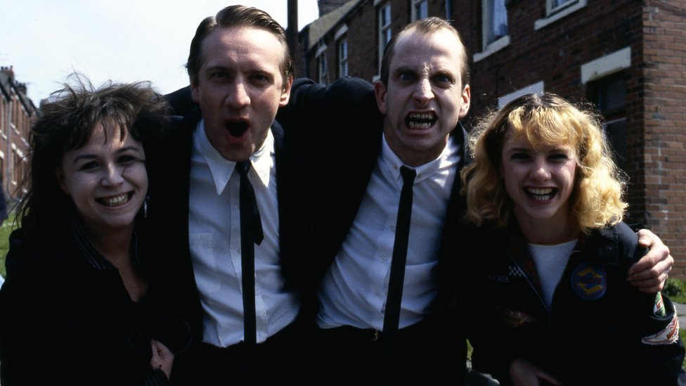 Mossie Smith, Neil Dudgeon, William Armstrong and Jane Horrocks in the BBC's 1987 film of Road