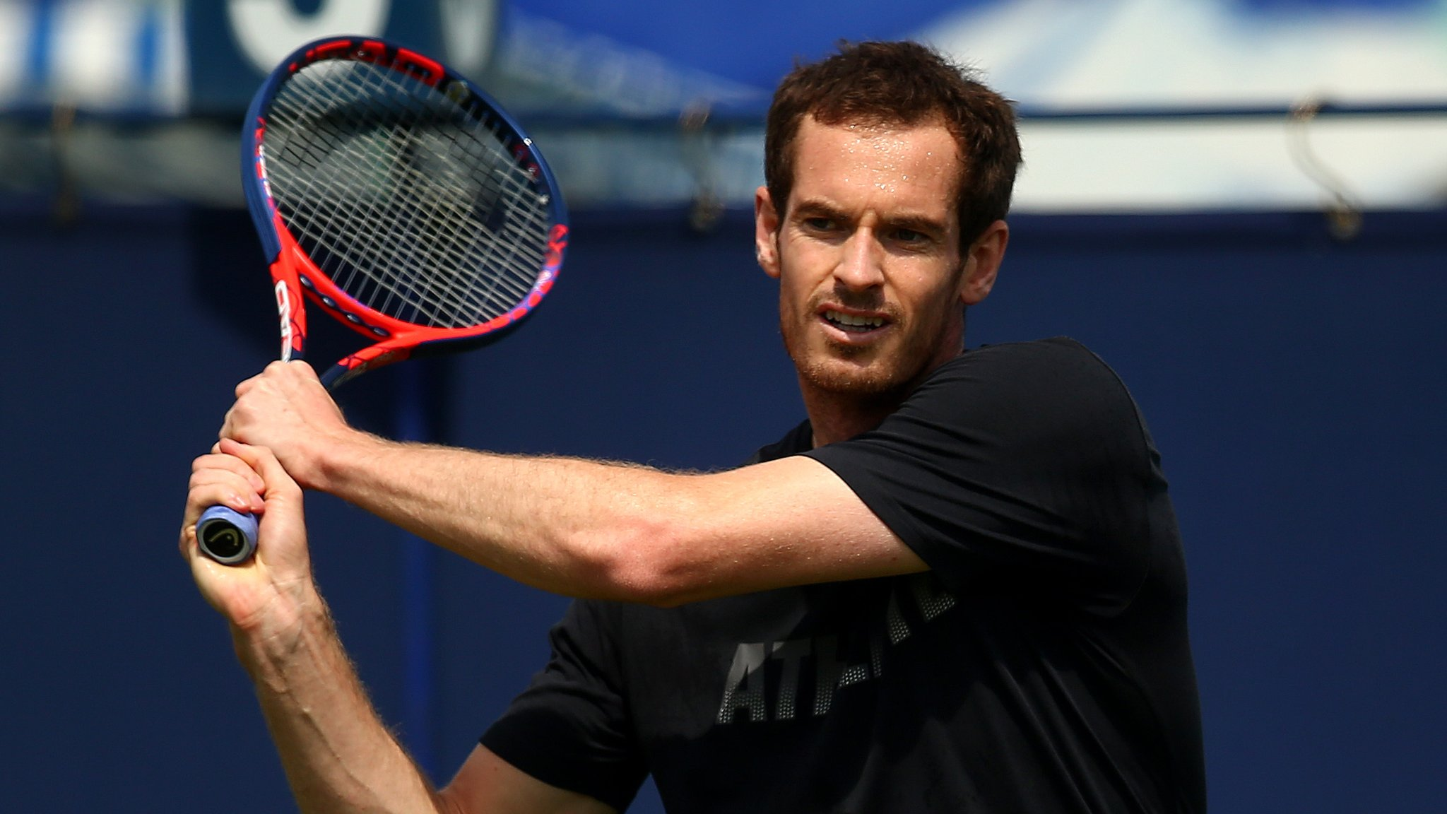 Andy Murray practises with Kyle Edmund before facing Stan Wawrinka at Eastbourne