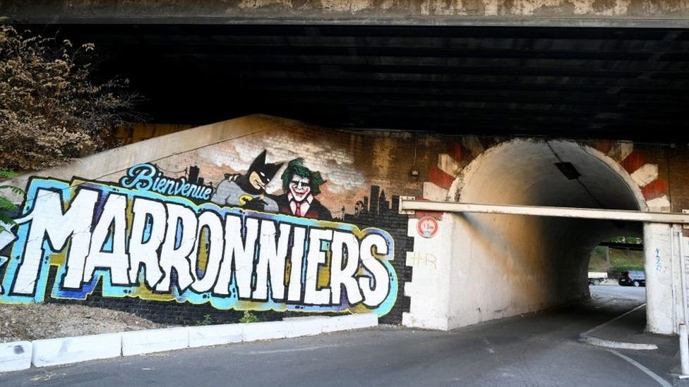 """The entrance to """"Les Marronniers"""" neighbourhood in Marseille"""