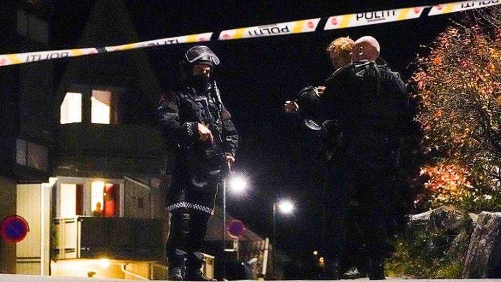 Policiя Norvegii na meste napadeniя