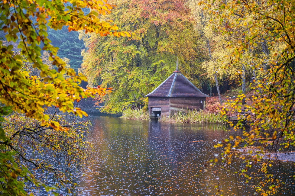 """Brian Colston visited Loch Faskally in search of some Scottish autumn colour and wasn't disappointed. """"Our scenery at its best and worst - as you can see from the splashes in the water."""""""
