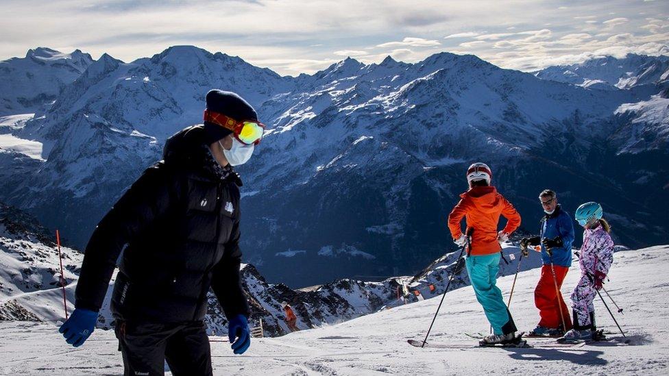 Skiers near Verbier, 28 Nov 20
