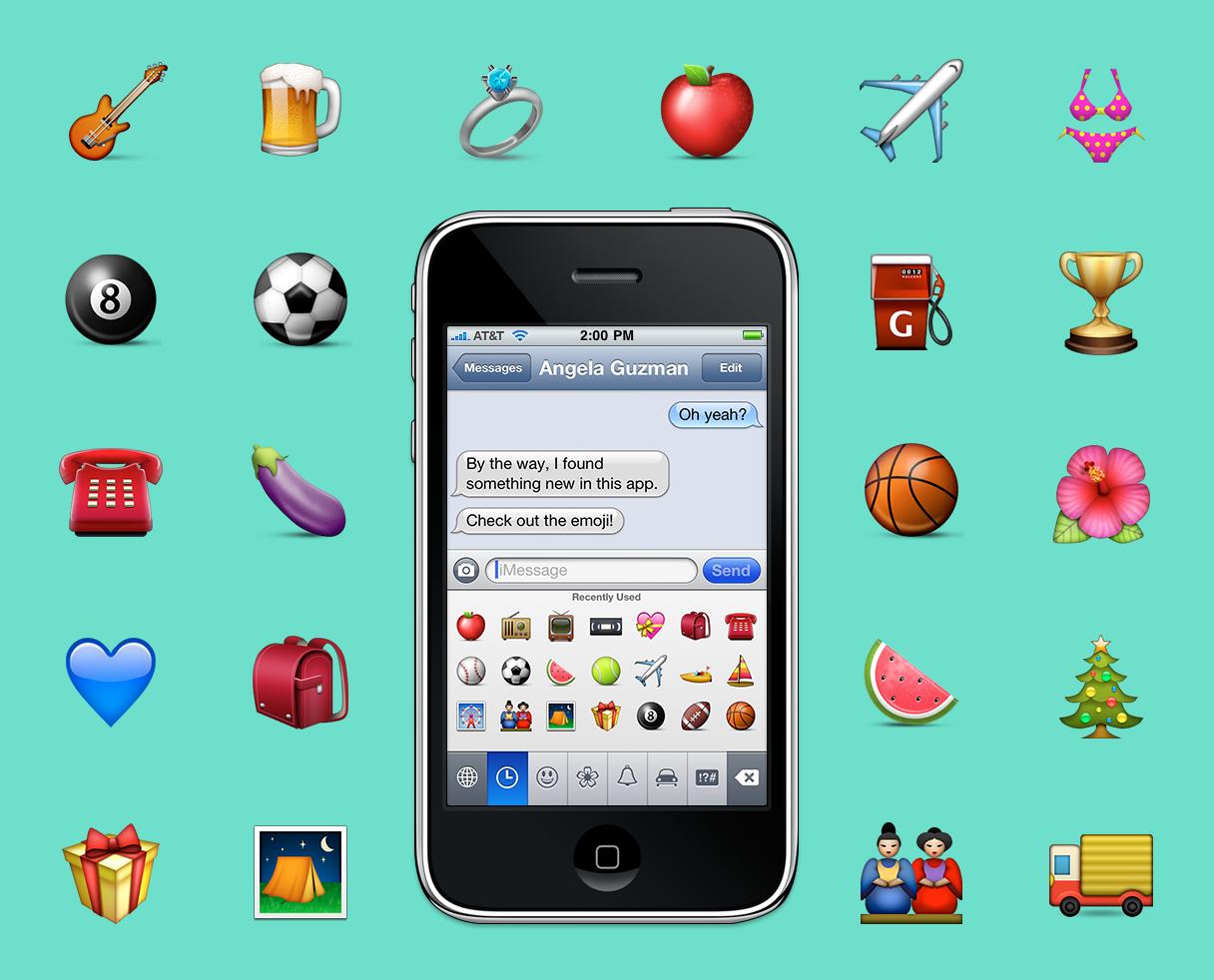 Un iPhone con unos emojis a los lados