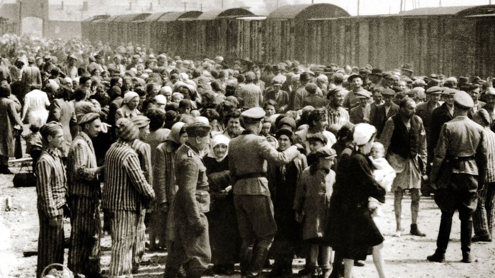 Cientos de judíos húngaros recién llegados a Auschwitz-Birkenau