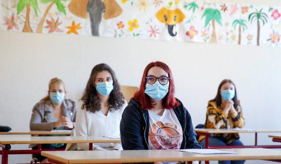 A classroom in Izel, Belgium, 19 May 20