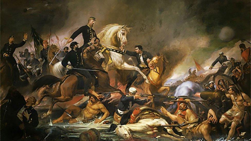 Ilustración de una batalla durante la Guerra de la Triple Alianza