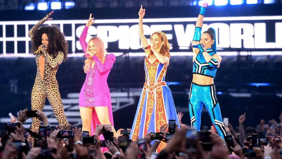 Mel B, Emma Bunton, Geri Halliwell and Melanie C of the Spice Girls perform in Dublin, Ireland.