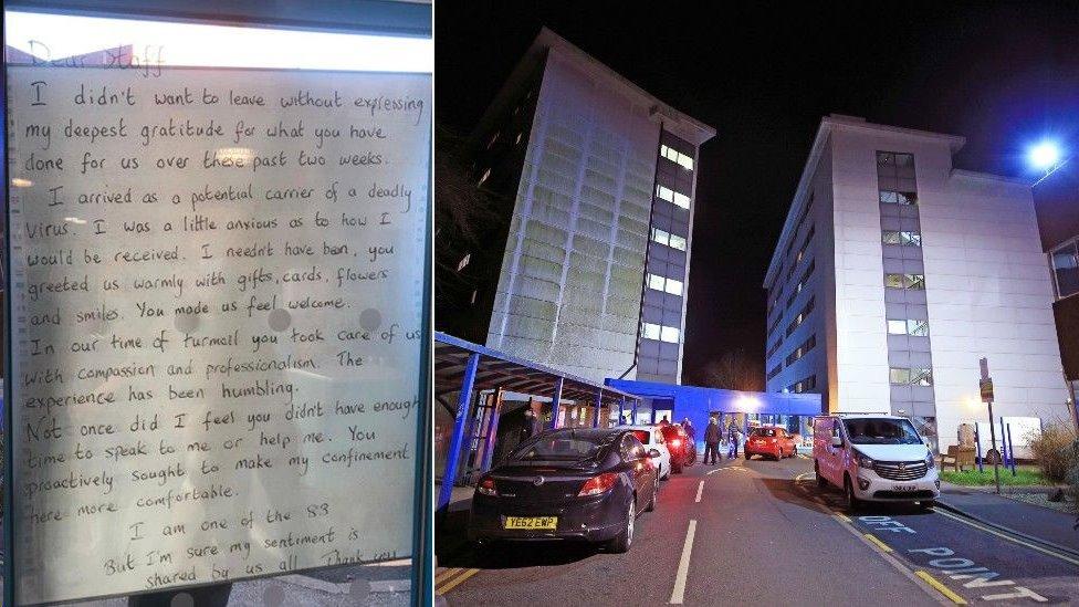 隔離人員留下字條對醫院人員表達感謝(Credit: PA)