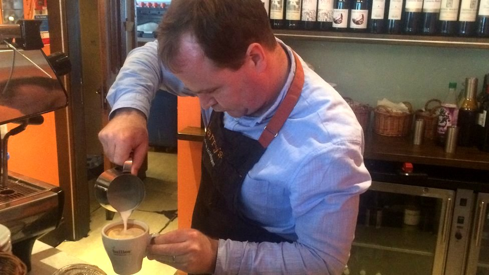Donal Doherty of Harry's Restaurant in Bridgend, Donegal making a coffee
