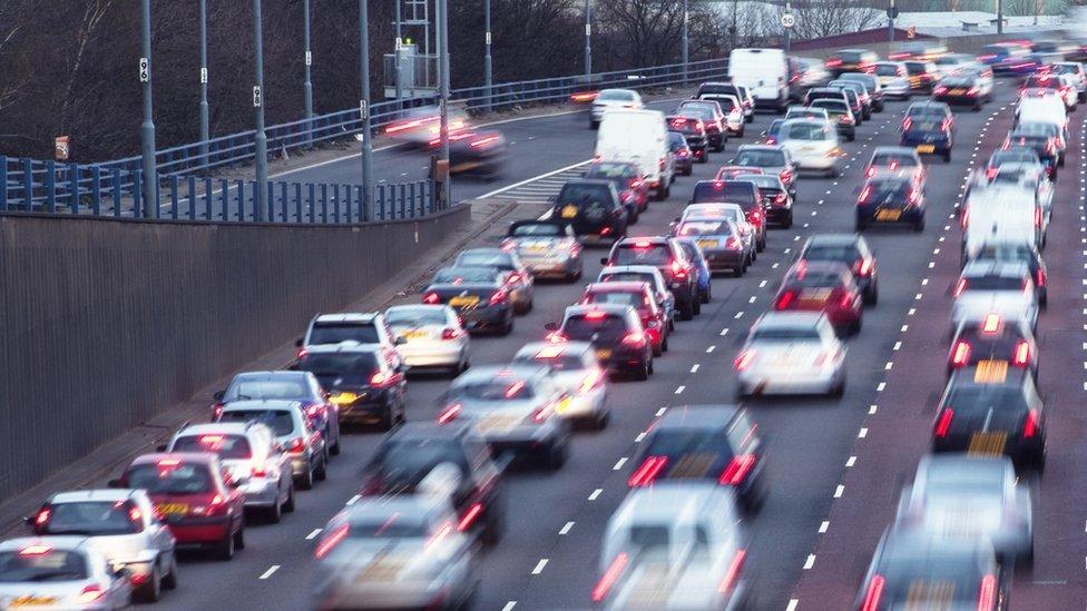 Lots of traffic on a motorway