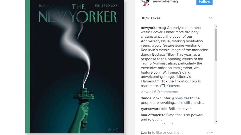 New Yorker new cover shows the Statue of Liberty with an extinguished flame
