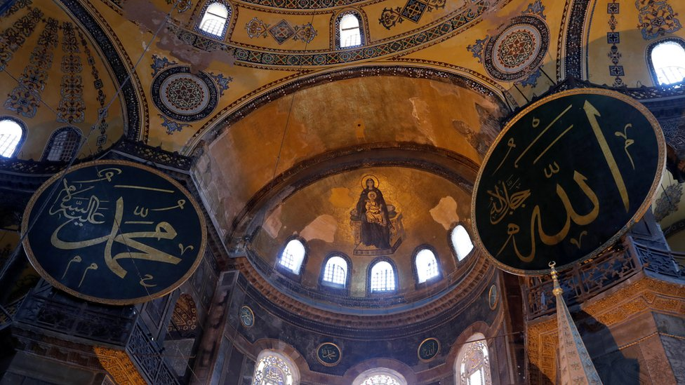 A mosaic depicting The Virgin Mary and Jesus is seen at Hagia Sophia