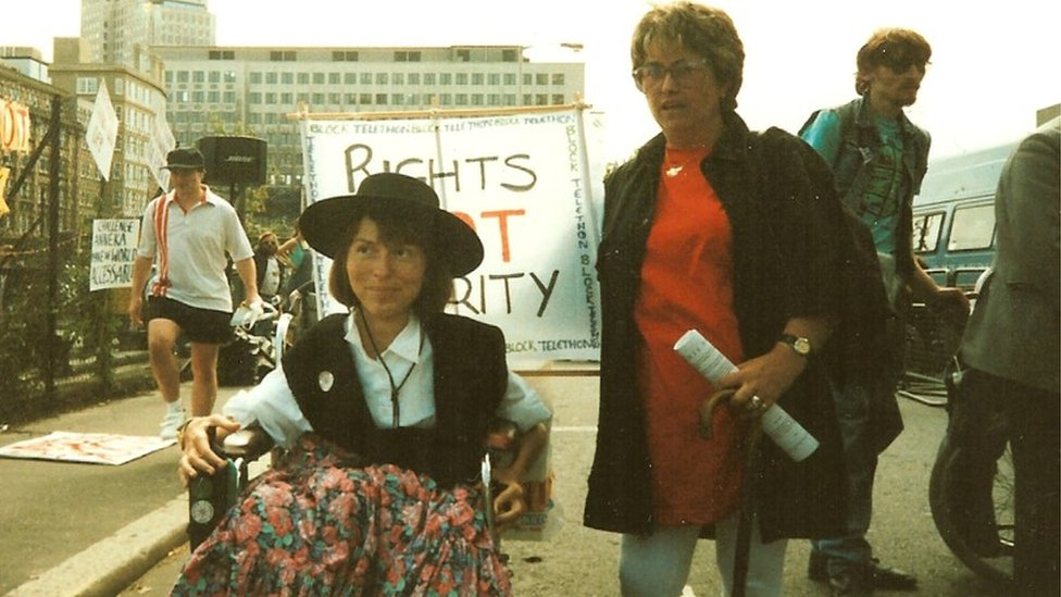 Baroness Jane Campbell on a march in the 1990s