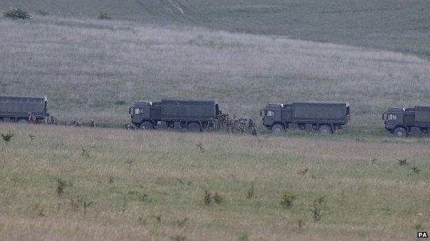 British soldiers on manoeuvres on Salisbury Plain