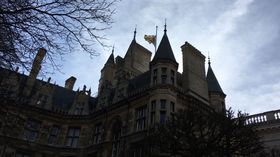 Gonville and Caius College flag at half mast
