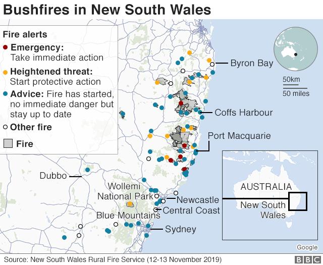 Map: Bushfires in NSW 12-13 November