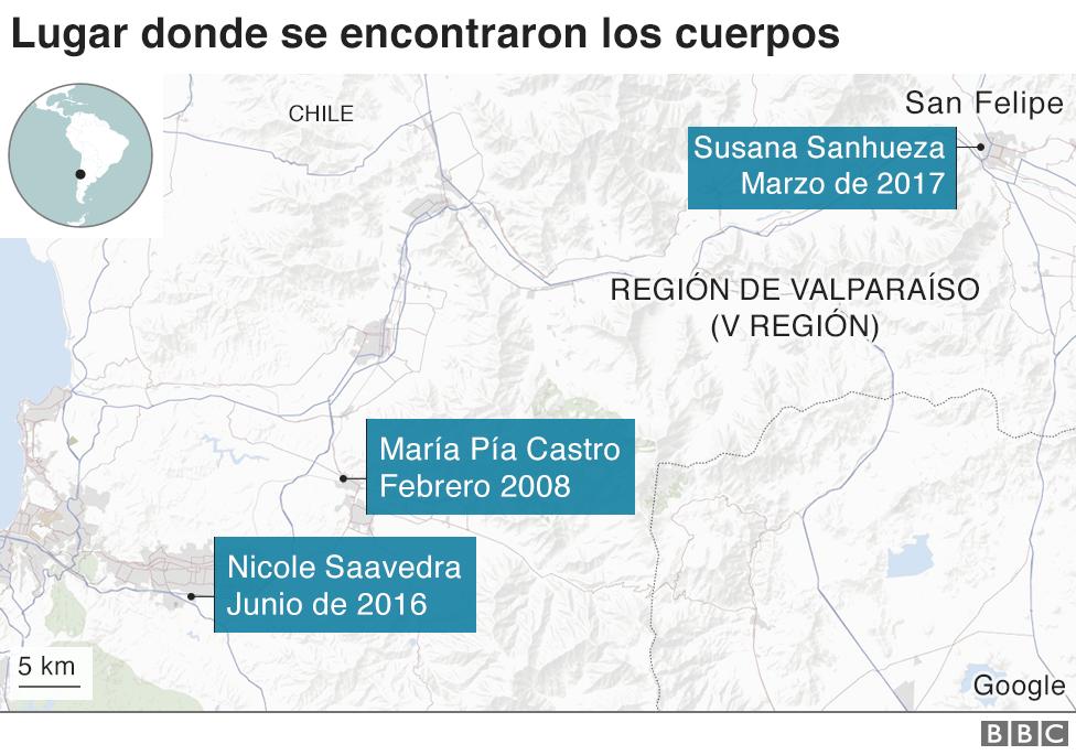 Lugar de localización de los cuerpos sin vida de María Pía Castro y Nicole Saavedra.