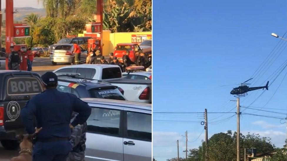 Montagem de fotos mostram movimentação da polícia em busca do acusado em Edilândia