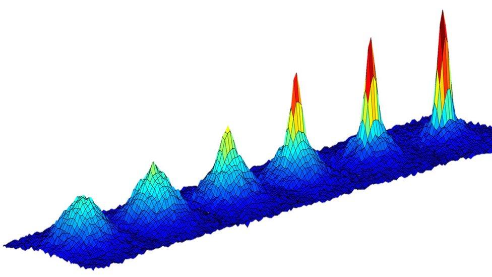 Ilustración sobre el enfriamiento de átomos y los cambios en la densidad de la materia