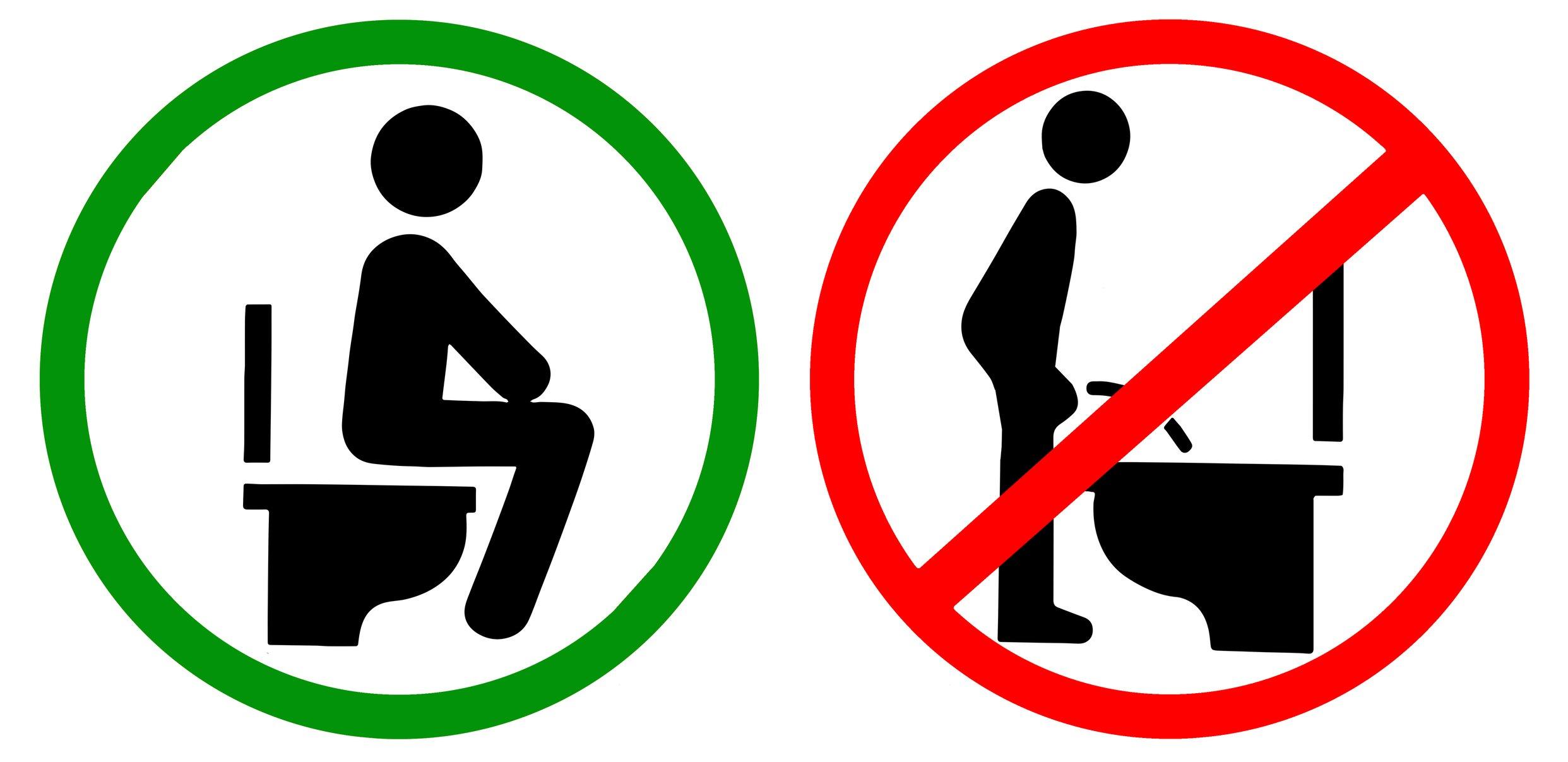 Señalización que prohíbe orinar de pie
